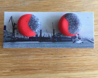 Handmade Polymer Clay Earrings - Two Tone - Glittery Grey/Red