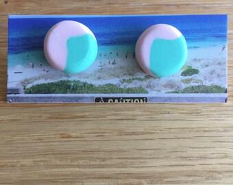 Handmade Polymer Clay Earrings - Two Tone - Blush/Mint Green