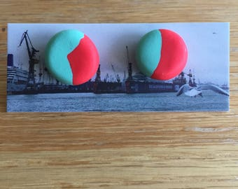 Handmade Polymer Clay Earrings - Two Tone - Red/Mint Green