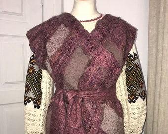 Purple felted vest. Eco style. felted vest romantic. Woman vest. Woman clothing. Eco clothing.