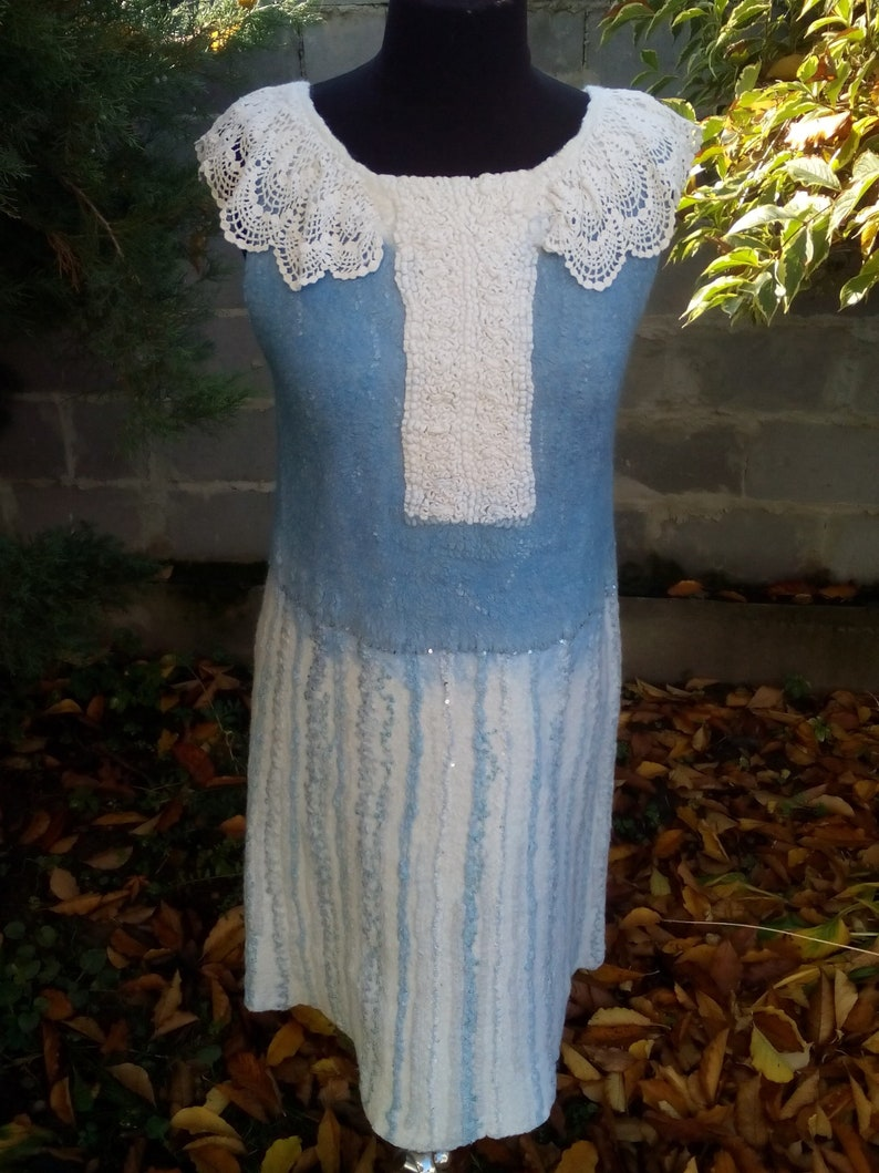 Women White Silk Dress. Felted Luxury Blue Silk Clothing. Handmade. Sleeveless Knee Dress. Felt Merino Wool Vest. Coats Women. Felt Jacket