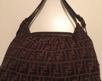 Fendi Doctor B Bag Monogram brown leather.