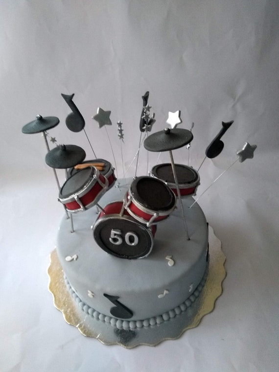 Strange Drum Set Cake Topper Fondant Drums Cake Topper Etsy Funny Birthday Cards Online Overcheapnameinfo