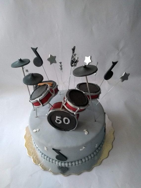 Superb Drum Set Cake Topper Fondant Drums Cake Topper Etsy Personalised Birthday Cards Paralily Jamesorg