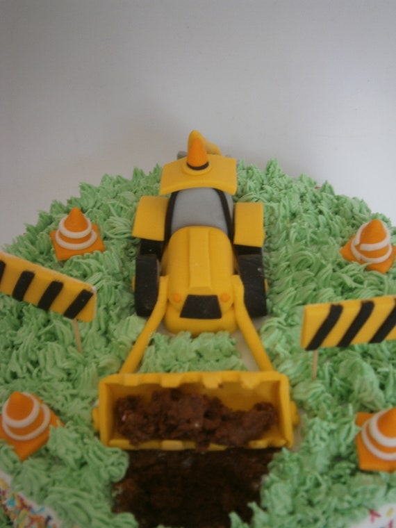 Awesome Digger And Builder Fondant Cake Topper Construction Worker Etsy Funny Birthday Cards Online Necthendildamsfinfo