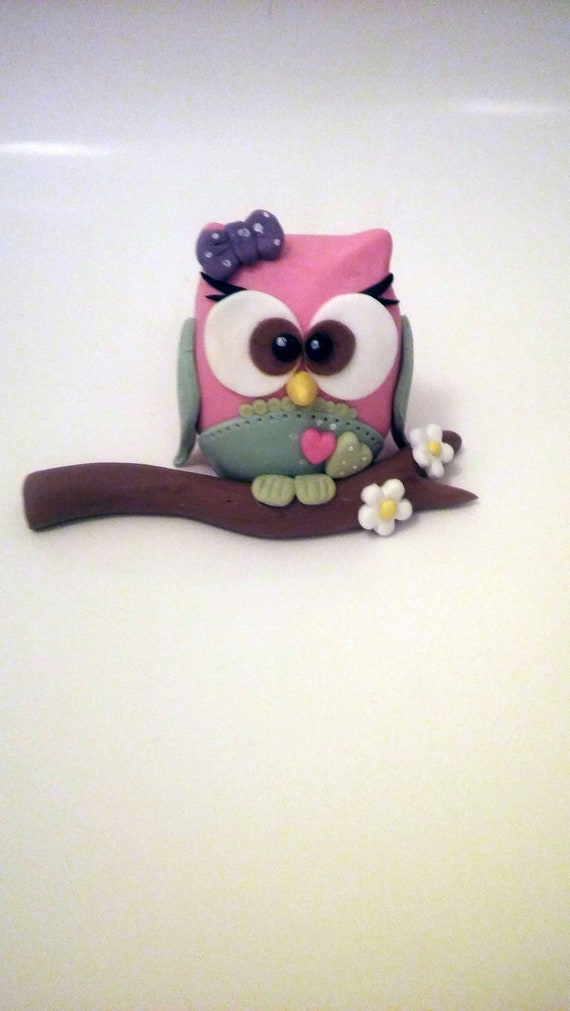 Excellent Cute Owl Cake Topper Fondant Cake Toppers Owl On The Branch Etsy Personalised Birthday Cards Sponlily Jamesorg