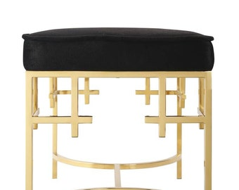 Ottoman Gold stool,stainless steel stool,bench,modern design,black fabric,coffee table,glass side table,home&living 60*60*45,customizable