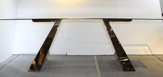 Set of 2 Brass Table Legs, Custom Table Base, Metal Table Legs, Table Legs,  Desk Legs, Steel Table Legs, Chrome Table Base,