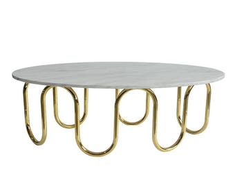 WAVE coffee table, Marble Coffee Table, Glass Coffee Table, Round Coffee Table, Metal Coffee Table Legs, Unique Design from IvadecorStudio