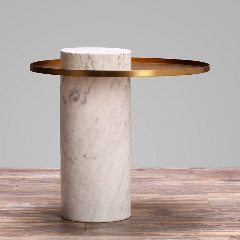 Column Round White Marble Coffee Table Round Coffee Table Etsy