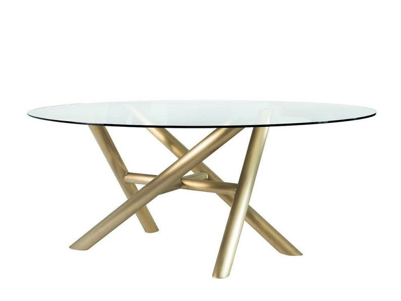 d251aa6ecdd STICKS Oval Glass Dining TableMetal Dining Table Legs For