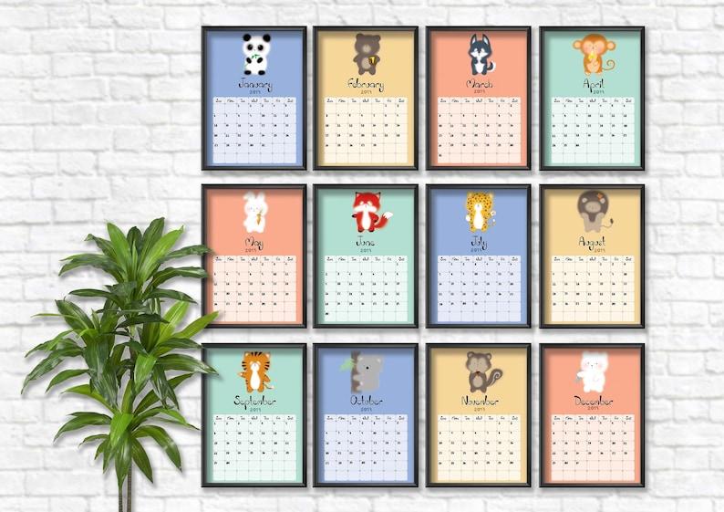 2019 Calendar Planner Cute Animals Printable Calendar Etsy
