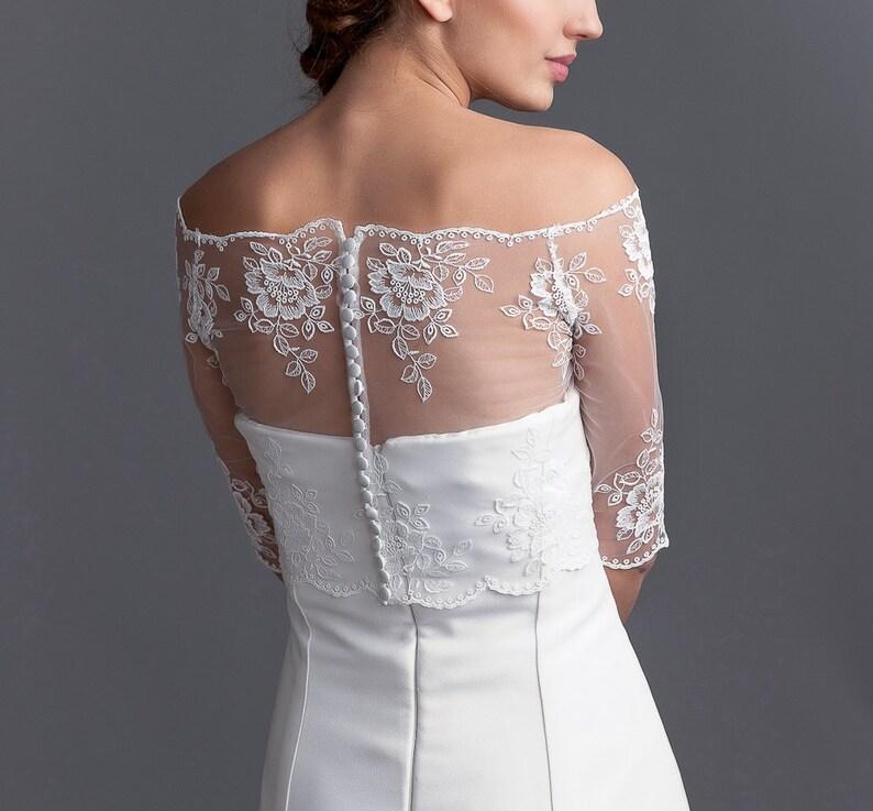 e94aa3a95a3b Off shoulder bridal lace bolero lace bolero bridal jacket   Etsy