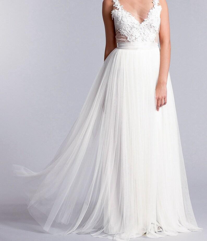 b157beee Spódnica dla nowożeńców, długa Tiulowa spódnica, miękka Tiulowa spódnica,  długa suknia ślubna w kolorze białym lub kości słoniowej