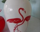 Anchor Hocking Red Flamingo Vase Vintage Fire King Vitrock Mid Century