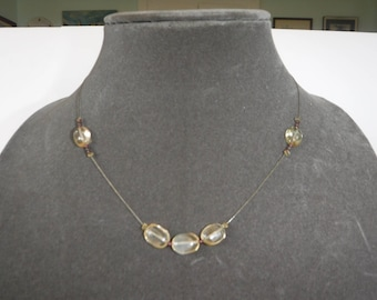 Citrine Garnet Beaded Necklace Vintage