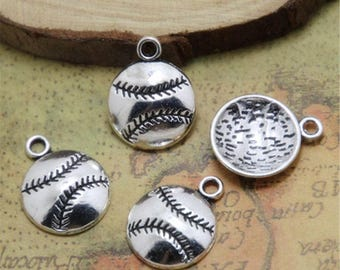 GC280 10 Baseball Charms Antique Gold Tone