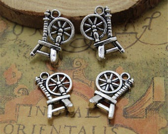 30pcs Spinning Wheel Charms pendants Silver tone 20mm x14mm