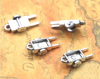 10pcs/lot Handcart charm Antique Tibetan silver Handcart Charms Pendant 12x22x6mm ASD2657