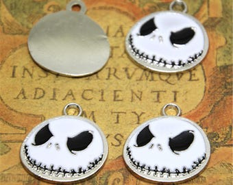 10pcs nightmare before christmas Charms Silver Plated jack halloween Charm pendant 24x26mm ASD2232