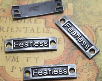 12pcs-Fearless Charms bronze tone Fearless Charm Pendants 35x10mm ASD1362