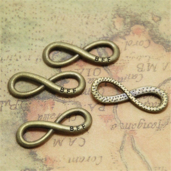 25pcs Infinity Charms Best Friend Forever Connector Bffb F F Etsy