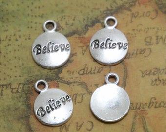 25pcs Believe Charm Silver Believe Pendants/Charms15x12mm ASD0498