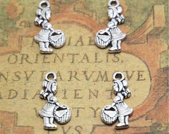 25pcs Little Red Riding Hood Charms silver tone Little Red Riding Hood charm pendants 22x12mm ASD1883