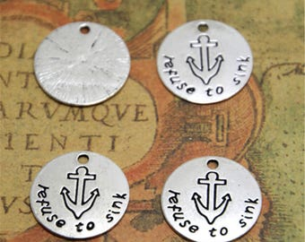 15pcs refunse to sink Charms Silver tone anchor refuse to sink charm pendant 20mm ASD2283