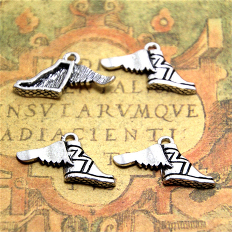 8pcs Running Tone Winged SneakerEtsy Silver Wing Shoes Charm kOPiuXZ