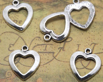 20pcs Heart charms silver tone Heart Pendants/Charms,20x21mm ASD1388