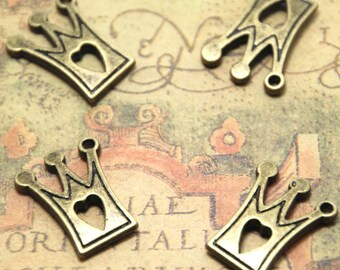 12pcs heart crown Charms bronze Tone heart crown charm pendants 21x17mm ASD1699