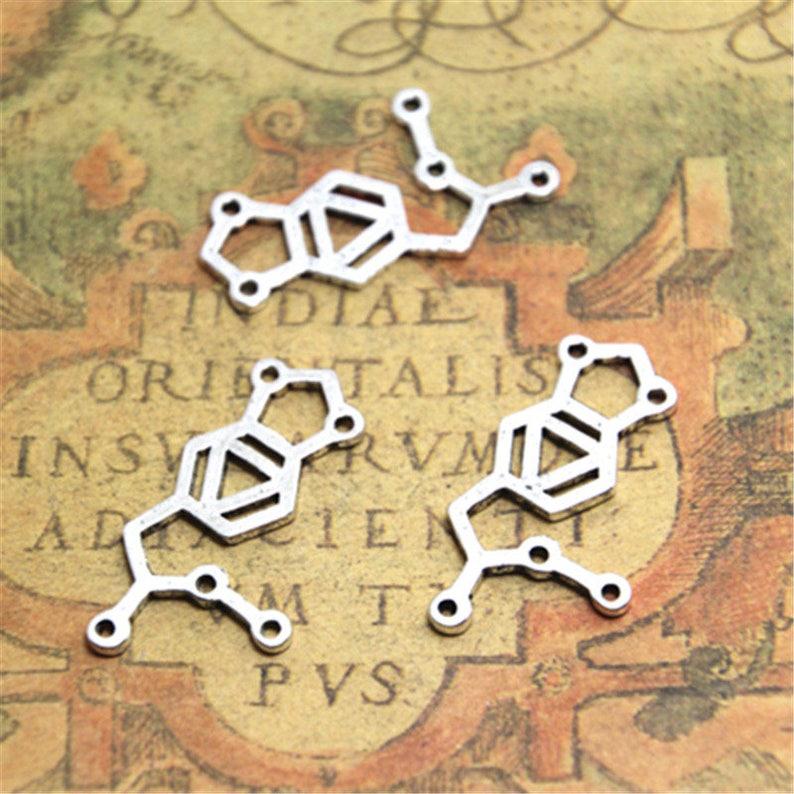 15pcs Neuron Charms Antique Silver Molecular charm Pendants 33x21mm