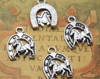 15pcs Horseshoe Charms Silver tone Horseshoe charm pendants, Horse charms 23x18m ASD0842