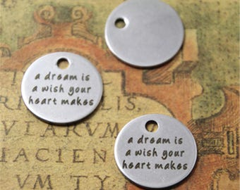 10pcs a dream is a wish your heart makes charm silver tone message charm pendant 20mm ASD2045