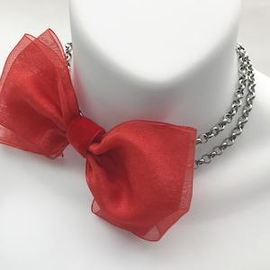 Red Satin Bow and Velvet Choker