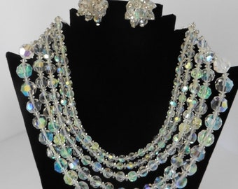 1950's or 60's Five Strand Choker Aurora Borealis Crystal Necklace With Matching Earrings
