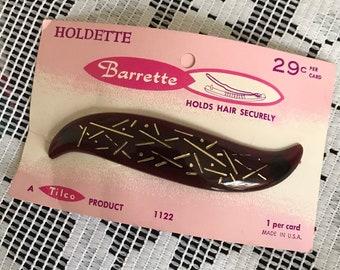 Tortoiseshell USA Hair Clip Mid Century Vintage Holdette Barrette Hair Slide Gold Confetti