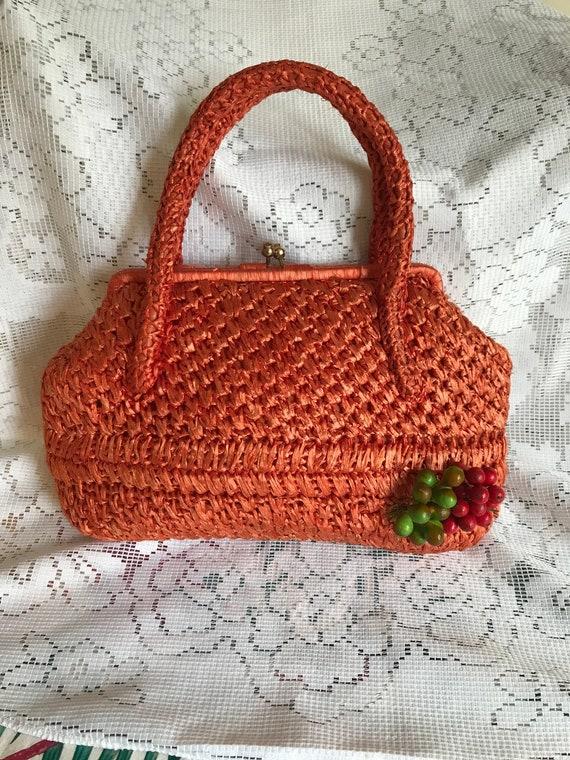1960's Vintage Orange Raffia Bag