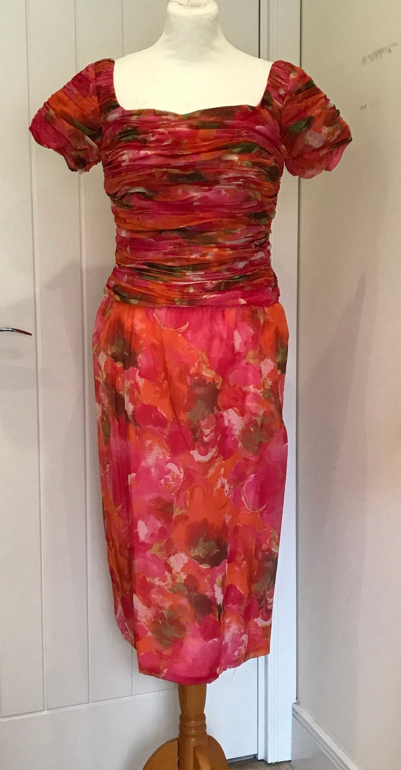 Fabulous and Funky Wiggle Dress by London Town Vintage 1960/'s Pencil Dress 1960s Dress Swinging 60s Film Prop