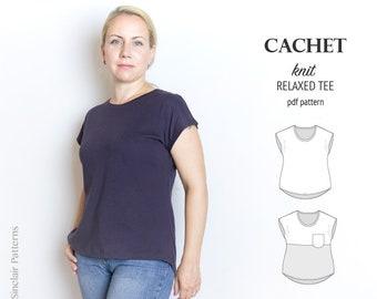 Pdf sewing pattern for women / Knit domain tee / easy sewing pattern with step by step sewing tutorial (beginners) XS-XXL plus size