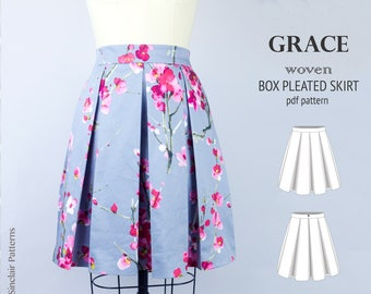 Box pleated skirt sewing pattern pdf /PDF sewing patterns for women /  sewing pattern with pdf sewing tutorial