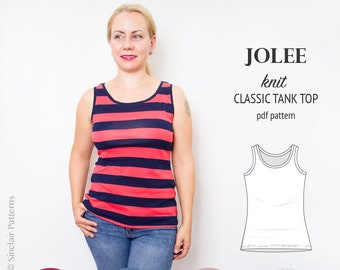 Womens top pdf pattern / Pdf sewing patterns for women - tank top pdf pattern /  sewing pattern with pdf sewing tutorial / instant download