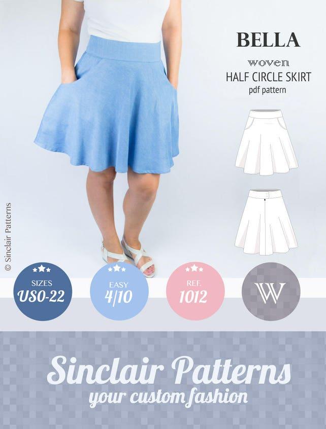 Half Circle Skirt Sewing Pattern Pdf Pdf Sewing Patterns For Etsy