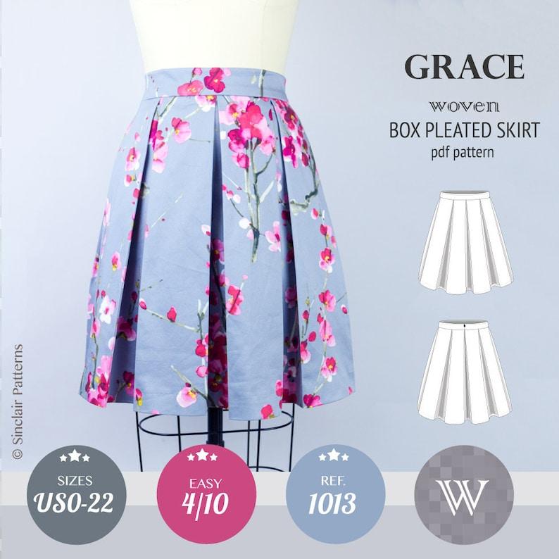 b78664f8e5 Box pleated skirt sewing pattern pdf /PDF sewing patterns for | Etsy