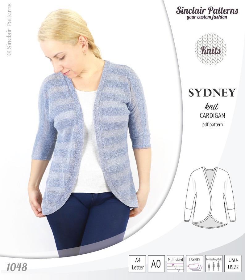 119063b0aa19 Sydney slim fit cocoon style knit cardigan pdf sewing pattern