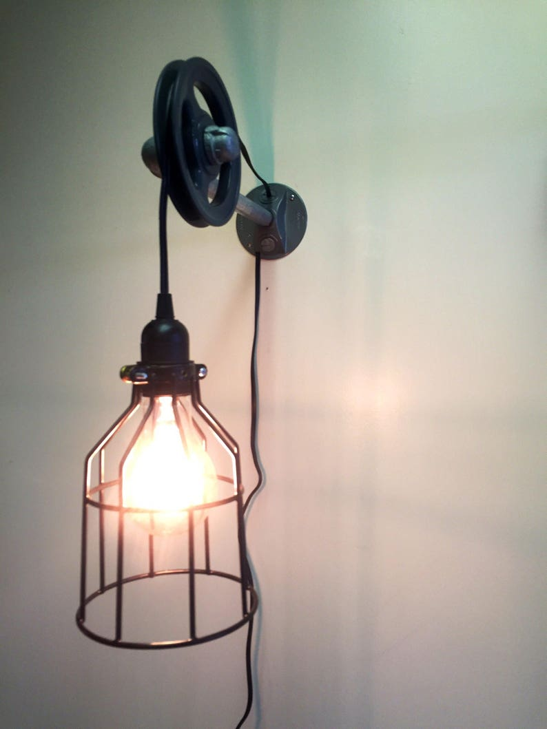 Pulley Light Fixture With Cage Pendant Industrial Lighting Pulley Light Lighting Home Decor Bedroom Lighting Office Lighting Rusic
