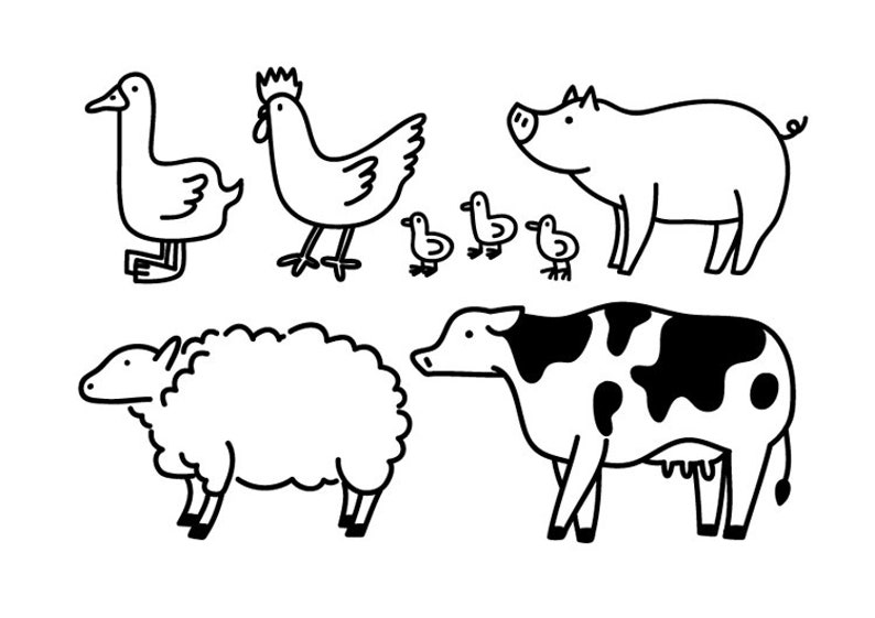 Farm Animal Clipart Cute Illustration Icon Design Logo
