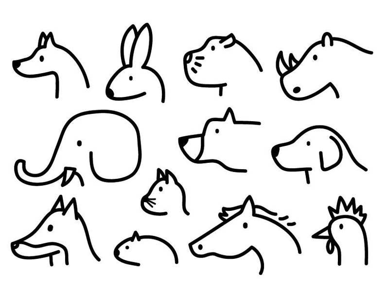 Animal Clipart Cute Animal Graphic Icon Logo Outline