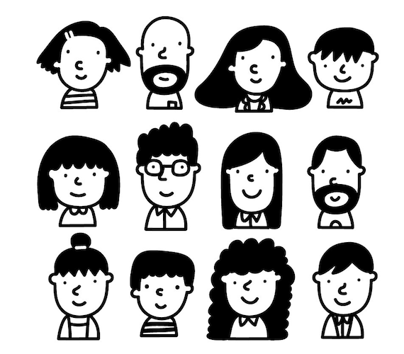 People Clipart Cute Character Clipart Face Outline Clipart Etsy